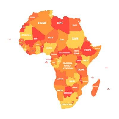 Plakat Orange mapa polityczna Afryki. Ilustracji wektorowych.
