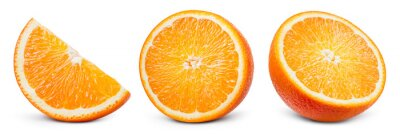 Plakat Orange slice isolate. Orange fruit half and slice set on white background. With clipping path. Full depth of field.