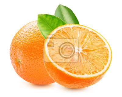 Plakat orange with half of orange and leaves isolated on a white background