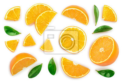 Plakat orange with leaves isolated on white background. Top view. Flat lay