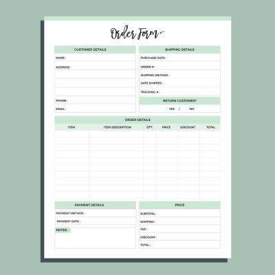 Plakat Order form planner page