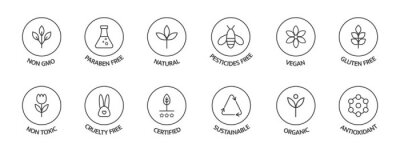 Plakat Organic cosmetic labels set. Product free allergen line icons. GMO free emblems. Organic stickers. Natural products badges. Healthy eating. Vegan, bio food. Vector illustration