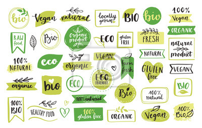 Plakat Organic food, eco, vegan and natural product icons and elements set for food market, ecommerce, organic products packaging, healthy life promotion, restaurant Hand drawn vector design elements.