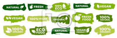 Plakat Organic food labels. Fresh eco vegetarian products, vegan label and healthy foods badges vector set