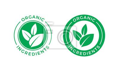 Plakat Organiczne składniki zielony liść wektor etykieta ikona