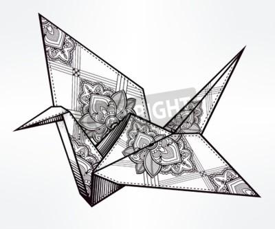 Origami ozdobny ptaka żurawia. Papierowy żuraw stylizowany trójkąt wieloboczny wzór z paisley szczegóły. R? Cznie rysowane pojedyncze ilustracji wektorowych. Element zaproszenia. Tatuaż, orientalny, b