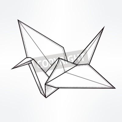 Origami Żuraw ptaka. Żuraw papieru stylizowane trójkąt wielokątne modelu. Ręcznie rysowane ilustracji wektorowych odizolowane. Element zaproszenie. Tatuaż, orientalne, boho, szczęścia i nadziei symbol