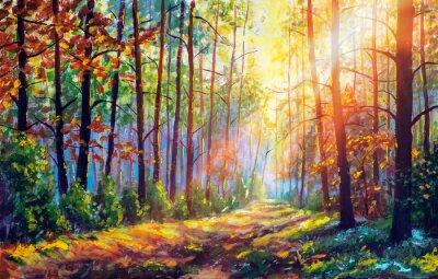 Plakat Original oil painting gorgeous forest in autumn, scenic landscape with pleasant warm sunshine fine art