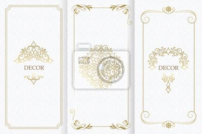 Plakat Ornate decor, border for invitation, card. Flourishes ornaments cards.