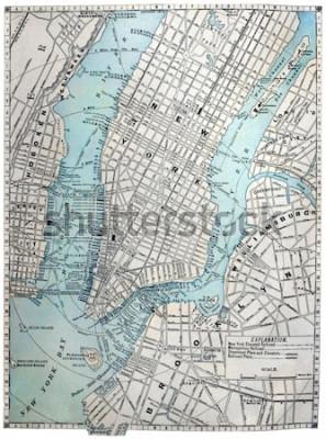 Plakat Oryginalna stara mapa Nowego Jorku z 1889 roku.