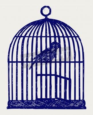 Plakat Otwarta klatka dla ptaków i ptaków z mosiądzu. Doodle styl