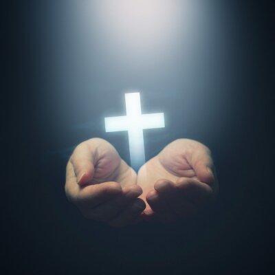 Plakat Otwarte ręce trzyma chrześcijaństwo krzyż