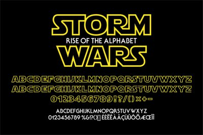 Plakat Outline yellow alphabet for science fiction titles. Vector typography illustration