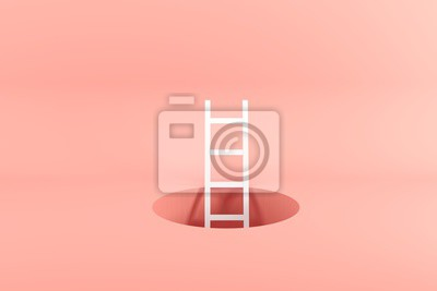 Plakat Outstanding white ladder standing inside hole on pink background. Minimal conceptual idea concept. 3D Render.