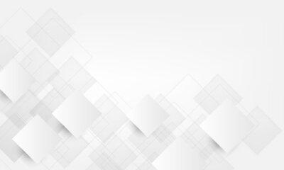 Plakat overlap square paper cut white background