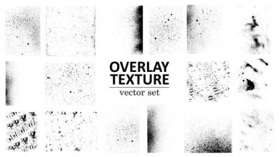 Plakat Overlay texture set. Different types of texture stamps (damaged, paint, old, concrete and other). Vector collection urban grunge overlay. Paint texture with spray effect and drop ink splashes. Vector