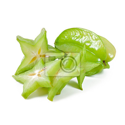 Owoce gwiazda lub karambola na białym tle