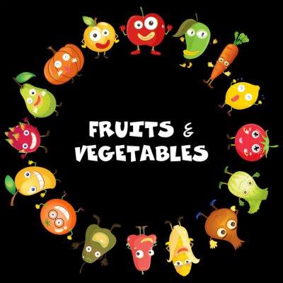 Plakat Owoce i warzywa z twarzy