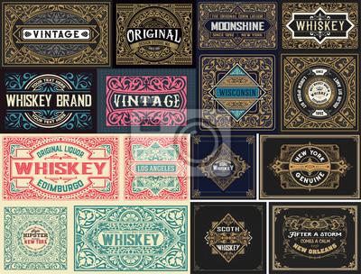 Plakat Pack of 16 vintage labels.