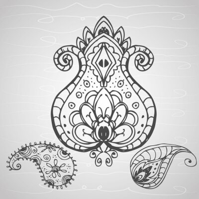 Plakat paisley ornament, rysunek odręczny