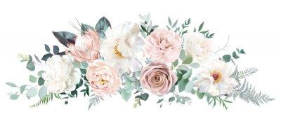 Plakat Pale pink camellia, dusty rose, ivory white peony, blush protea, nude pink ranunculus