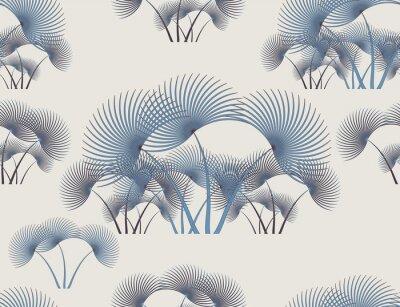 Plakat palm leaves pattern blue retro style