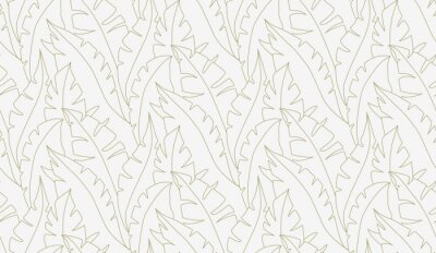 Plakat Palm leaves seamless pattern vector. Lina art illustration. Shirting textile pattern of vector banana leaves. Retro background prints abstract. EPS 10.