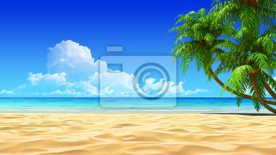 Plakat Palms na pusty idyllicznej plaży tropikalnej piasku