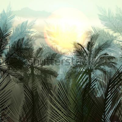 Plakat Palmy dżungli i rośliny tropikalne. Gradientowy krajobraz wektor