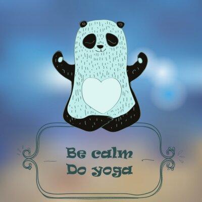 Plakat Panda Bear podejmowania jogi.