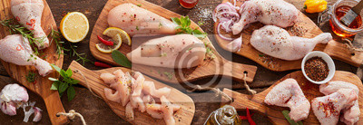 Plakat Panorama banner of raw chicken portions