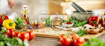 Plakat Panorama banner ze świeżymi ziołami kulinarnymi