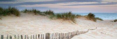 Plakat Panorama landscape of sand dunes system on beach at sunrise