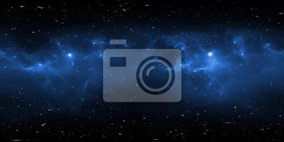 Plakat Panorama mgławicy w przestrzeni 360 stopni, projekcja w układzie prostokąta, mapa środowiska. Panorama sferyczna HDRI. Tło z mgławicy i gwiazd