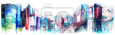 Plakat panorama miasta