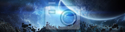 Plakat Panorama of distant planet system in space 3D rendering elements of this image furnished by NASA