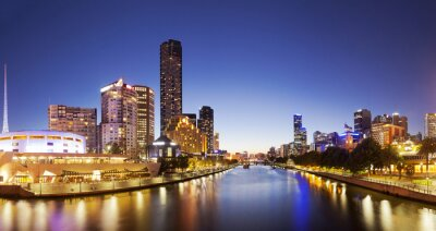 Plakat Panorama of downtown Melbourne at night