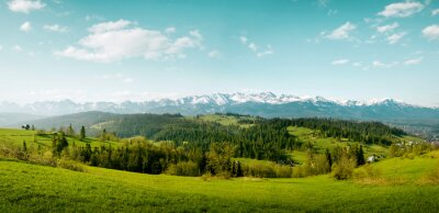 Plakat Panorama of snow-capped Tatry Mountains on Podhale in Poland