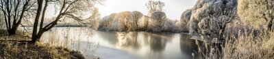 Plakat Panorama of the frozen lake and snow-covered trees