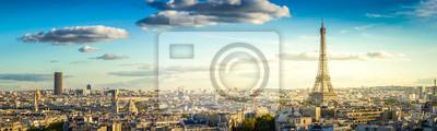 Plakat panorama słynnej wieży Eiffla i dachy Paryża, Paryż Francja, retro stonowanych