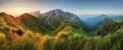 Plakat Panorama sunrise górskich w Dolomitach, Passo Giau