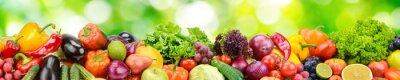 Plakat Panorama świezi warzywa i owoc na zamazanym tle zieleni liście.