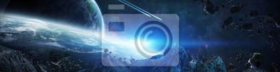 Plakat Panorama systemu odległej planety w przestrzeni renderowania 3D elementy tego obrazu dostarczone przez NASA