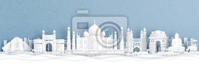 Plakat Panorama view of India with Taj Mahal and skyline with world famous landmarks in paper cut style vector illustration