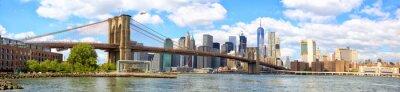 Plakat Panoramę Nowego Jorku z Brooklyn Bridge panoramę Manhattanu