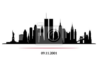 Plakat Panoramę Nowego Jorku z wieży bliźniaków. Światowe Centrum Handlu. 09.11.2001 Baner rocznicowy American Patriot Day. Ilustracji wektorowych.