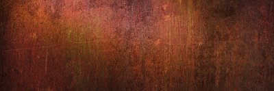 Plakat Panoramic grunge rusted metal texture, rust and oxidized metal background, banner. Old metal iron panel