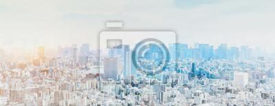 Plakat panoramic modern city skyline mix sketch effect