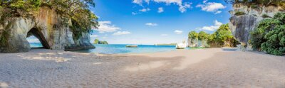 Plakat Panoramic picture of Cathedral Cove beach in summer without people during daytime