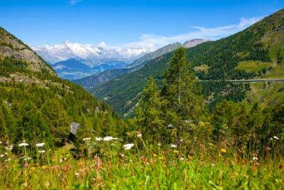 Plakat Panoramic view on Simplon pass in Switzerland
